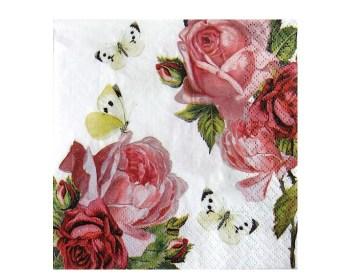 Χαρτοπετσέτες Braun Company τριαντάφυλλα πεταλούδες 20τμχ