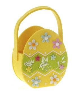 Τσόχινο καλάθι κίτρινο αυγό 15x8x18