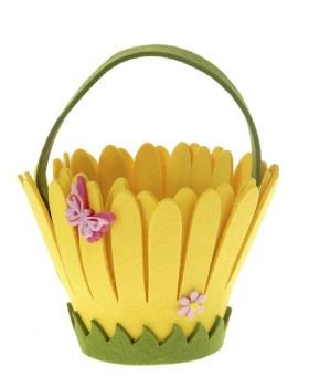 Τσόχινο καλάθι κίτρινο λουλούδι 13x15