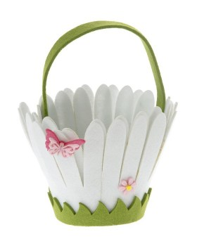 Τσόχινο καλάθι λευκό λουλούδι 13x15