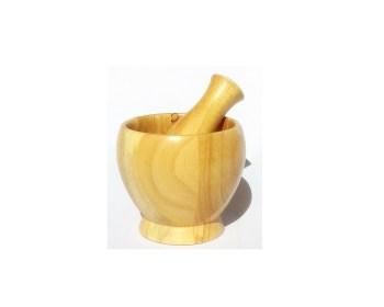 Γουδί και γουδοχέρι ξύλινο φυσικό χρώμα