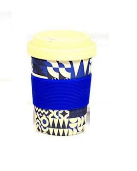 Ποτήρι μπαμπού 350ml με θήκη για καλαμάκι μπλε