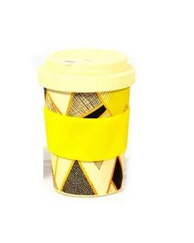 Ποτήρι μπαμπού 350ml με θήκη για καλαμάκι κίτρινο