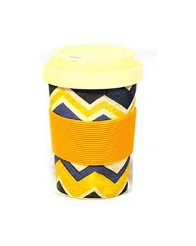 Ποτήρι μπαμπού 350ml με θήκη για καλαμάκι κίτρινο μπλε