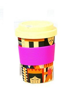 Ποτήρι μπαμπού 350ml με θήκη για καλαμάκι φουξ