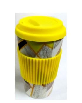 Ποτήρι bamboo 400ml κίτρινο γκρι