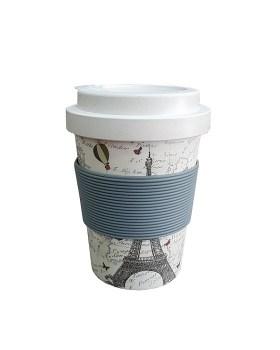 Ποτήρι μπαμπού 350ml με θήκη για καλαμάκι Παρίσι