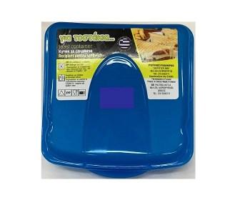 Πλαστικό φαγητοδοχείο με κλιπ για τοστ σάντουιτς 13χ13εκ μπλε
