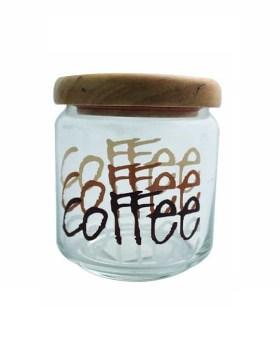 Βάζο καφέ με ξύλινο καπάκι 500ml